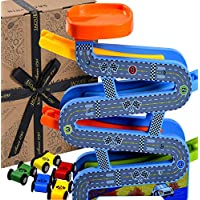 Jaques of London Wooden Toys Carpark Perfect toddler toys for 1 2 3 4 year olds - Includes Toy cars, Speed Ramps and Racetrack. Perfect Toddler Toys.