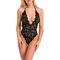 ShinyStar Women Sexy Teddy Lingerie Halter Lace Babyoll Nightwear Lace Sleepwear Underwear Set