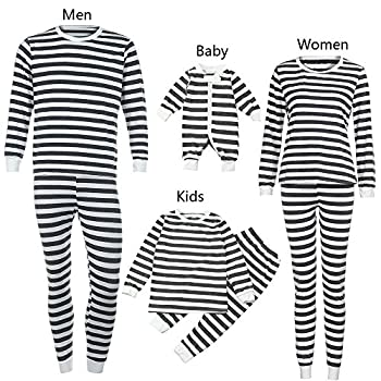 Weant Family Matching Christmas Pajamas Set Father Mother Newborn Kids Boy Girl Christmas Clothes Sets Striped Romper Jumpsuit Tops+ Pants (4 Years, Gray) 1