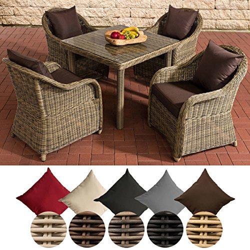 CLP Polyrattan Gartengarnitur SAN Juan XL | Gartenmöbel-Set: 4 Sessel und EIN Esstisch | In Verschiedenen Farben erhältlich Rattanfarbe: Natura, Kissenfarbe: Terrabraun