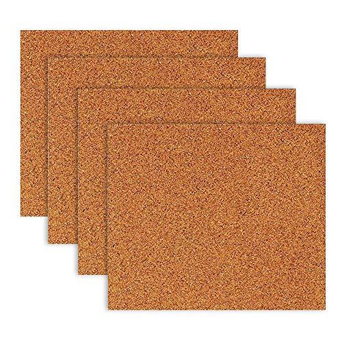 Anzeigetafel für Wand, Pinnwand,4 STÜCKE selbstklebende Quadratische Form Kork Wand Bulletin Memo Fotos Brief Nachricht Anzeigetafel für Home Office Shop Dekoration