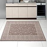 Teppich SISAL Optik in Taupe Beige - Ornamente Küche Flachgewebe Küchenteppich - Orient Perser Muster - Sehr Robust Öko-Tex