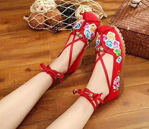 DESY scarpe ricamate, unico tendine, stile etnico, femaleshoes, moda, comodi, scarpe da ballo Red