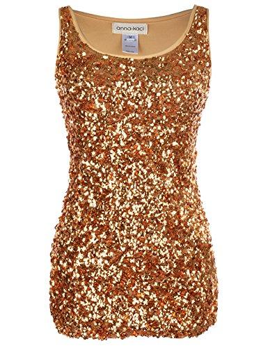 Anna-Kaci Sparkle & Shine Glitzer Paillette ärmellos Boot-Ausschnitt Tank Top, L, Gold Shimmer Damen Rock