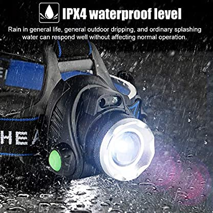 HOKEKI Headlamp, USB Rechargeable LED Head Lamp, Adjustable Headband 4 Modes Grade, IPX4 Waterproof for Jogging, Hiking, Dog Walking, Hunting 3