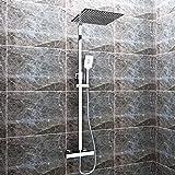 sunnyshowers Duschset Chrom quadratisch Duschsystem Duscharmatur Überkopfbrause Regendusche Handbrause Regenbrause mit Duschpaneel mit Brausethermostat