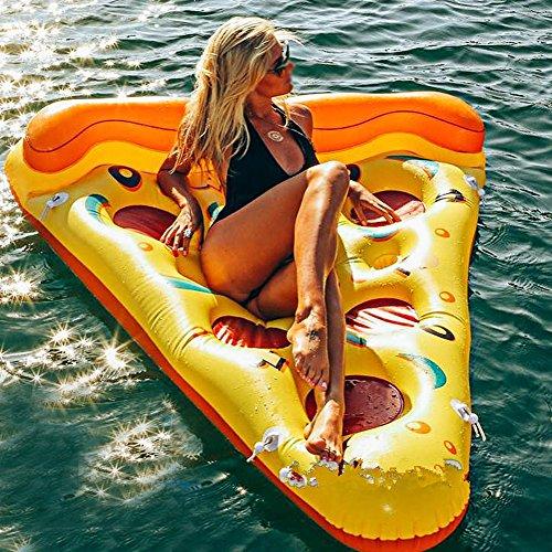 GOTOTOP Schwimmbad-Schwimmer Riesige Pizza, Pool-Schwebebett , PVC-Sommer-aufblasbares Floss-Wasser-Sich hin- und herbewegendes Bett für Swimmingpool-Spielzeug,168 x 138 x 33 cm