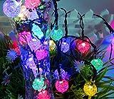 Evst 30ampoules Boule lumineuse solaire à LED Lampes solaires de jardin IP65étanche éclairage décoratif lumières de clôture pour jardin, terrasse, cour, maison et de Noël