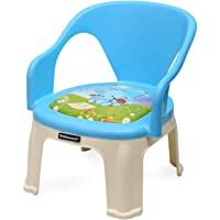 Nilkamal Strong and Durable Plastic Chair with Cushion Base for Kids (Pups Blue), 35 * 36 * 38 cm