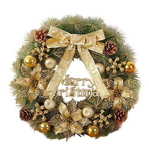 YeahiBaby Christmas Wreath Front Door Hanging Garland Pine Needles Wreath Party Decoration 50cm(Golden)