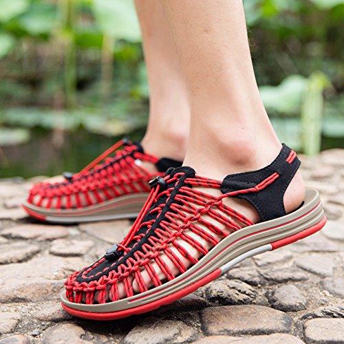 Xing Lin Plage Flip Flop Extérieure Plage Chaussures _ Sandales À La Main Trou Chaussures Antiskid Baotou Extérieur Ouvert Rouge