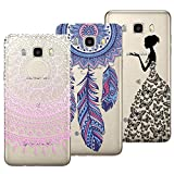 3x Coques,Yokata 3 en 1 Coque Samsung Galaxy J5 2016 , Etui Samsung J5 2016 Silicone Souple Étui Transparent Swag Gel Case Ultra Fine Mince Housse Protection Antichoc Motif Mandala Rose + Attrape Reve Bleu + Fille Princesse