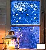 ilka parey wandtattoo-welt® Fensterbild Fensteraufkleber Weihnachten Sterne mit Schneeflocken Weihnachtsdeko M1244 ausgewählte Farbe: *weiß*
