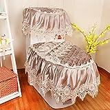 SL-Top grade wc europea tre set di pizzo tessuto sedile di gabinetto generale addensante cuscino cuscino igienica zipper,l'mattutina pioggia butterfly Xuan - Caffè