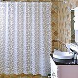 ZLYAYA-Cuarto de baño de estilo europeo de opacidad Non-Smelling Moldproof impermeable no tóxicos de la cortina de ducha con 12 ganchos -patrón de flores blancas 180*180 cm
