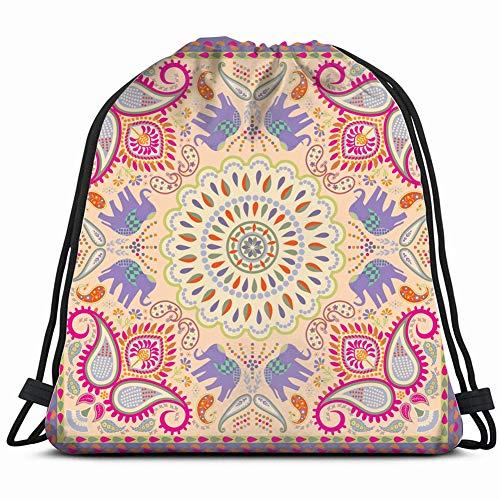 khgkhgfkgfk Bandana Scarf Elephant floral Motif Vintage Drawstring Backpack Gym Sack Lightweight Bag Water Resistant Gym Backpack for Women&Men for Sports,Travelling,Hiking,Camping,Shopping Yoga - Funky Bandana