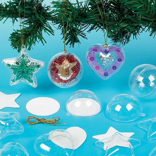 Baker Ross Glitter Baubles for Children to Create and Hang on Christmas Tree (Pack of 9)