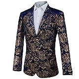 GOMY Slim Fit Herren Bunter Sakko Muster Casual Blazer Jacke Hochzeit Party (2XL, Blau Golden)