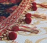 Luxus Quastenborte mit Perlenen Breite 80 mm Farbe Rot & Gold Meterware Posamentenborte m.Quasten Dekoborte Zierborte m. Troddeln Vorhangborte Bordüre Jugendstil Barock
