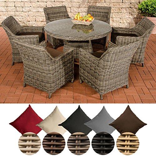 CLP Poly-Rattan Gartenmöbel Sitz-Gruppe GINOSA, 5 mm Geflecht (6x Sessel Sandnes + Tisch rund Ø 130 cm) Rattan Farbe grau-meliert, Bezugfarbe: Terrabraun
