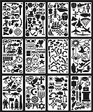 24 foglio/multifunzione creativo graffiti di plastica cava/lettere/espressioni/simboli/animali materiale scolastico per studenti disegno a mano modello di conto fai da te diario grafica segnalibro