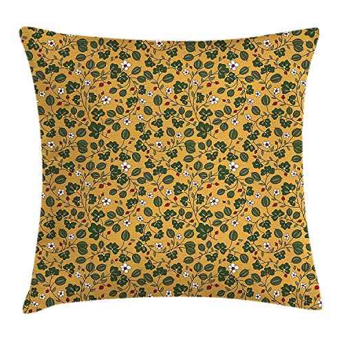Floral Throw Pillow Cushion Cover, Mother Nature Flourishing Daisy Field Botany Foliage Growth Seasonal Print, Decorative Square Accent Pillow Case, 20 X 20 inches, Apricot Hunter Green -