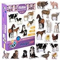 MAGDUM MOM Baby Farm Photo Animal Magnets for Kids -Real Large Fridge Magnets for Toddlers- Magnetic Educational Toys Baby 3 Year Old Baby Learning Magnets for Kids- Kid Magnets for Magnetic Theatre