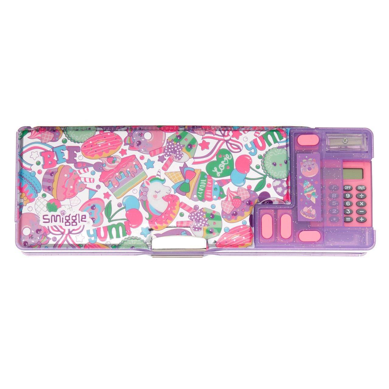 Smiggle Flashy Kids, estuche portalápices desplegable para niñas y niños con calculadora y sacapuntas | Acabado con purpurina y holografías