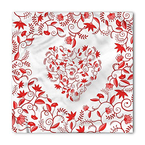 Valentines Day Square Scarf, Paisley Floral Details with Leaves and Roses in a Shape of Heart Image, Printed Unisex Square Scarf Head and Neck Tie Scarf Headband, Vermilion White Paisley Printed Silk Dress
