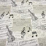 Stoff Meterware Musikinstumente Noten Geige Trompete ecru
