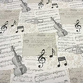 tessuto venduto al metro motivo note musicali in cotone