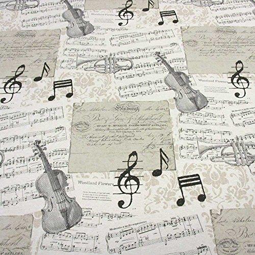 Stoff Meterware Musikinstumente Noten Geige Trompete ecru schwarz (Stoff Noten)
