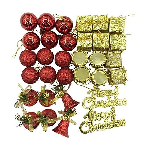sunnymi 32Pcs Mischen 5 Arten von Kugeln Weihnachten Dekor Weihnachtsbaum Verzierungen Ball (4-7cm, Rot & Gold)