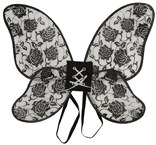 Fancy Angels Kostüm Fallen Dress - Ladies Black Glittery Rose Print Burlesque Gothic Fallen Angel Butterfly Halloween Wings Fancy Dress Costume Outfit Accessory (One Size)