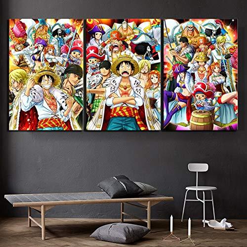 FFFZDCKAY sur Toile Tableaux 3 Parties Chapeau de Paille Dessin animé Pirate Une Seule pièce Anime Impression sur Toile Photo Affiche Mur Artistique Décoration de la Maison avec Cadre