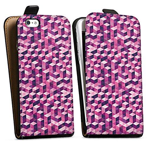 Apple iPhone X Silikon Hülle Case Schutzhülle Würfel Muster Illusion Downflip Tasche schwarz