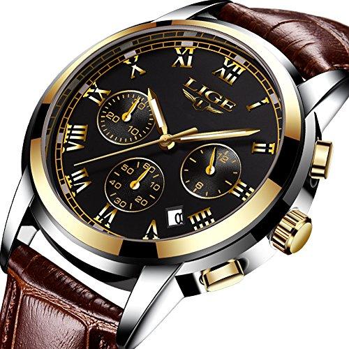 Herren Uhren Fashion Business Leder Quarz Analoge Uhr Herren Casual Sport Wasserdichte Uhr LIGE Luxusmarke Schwarz Klassisch Date Armbanduhr
