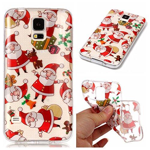 laxy S5 Neo Hülle, Samsung Galaxy S5 / S5 Neo Xmas Case, BONROY® Samsung Galaxy S5 / S5 Neo Silikon Hülle Tasche Handyhülle Weihnachtsthema [Weihnachtsmann, Elch] Schutzhülle Transparent TPU Gel Case Bumper Weiche Crystal Clear Tasche Hülle Case Cover Ultra Slim Kreative Schützende Clear Bumper Case Etui Schale Christmas Gift (Elch-brille)