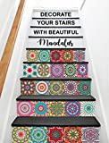 #8: FOA 36 Pcs Stair Sticker Self Adhesive Tiles Decal 3D Mural Art Home Decoration Peel and Stick (6 Inch X 6 Inch):Design:08