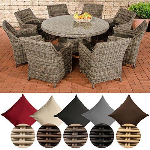 CLP Poly-Rattan Gartenmöbel Sitzgruppe GINOSA XL, 5 mm Rund-Geflecht, Aluminium Gestell (8x Sessel Sandnes + Tisch rund Ø 150 cm) Rattan Farbe braun-meliert, Bezugfarbe: Anthrazit