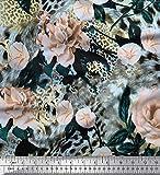 Soimoi Rosa Chiffon di Viscosa Tessuto Pelle di Leopardo, Foglie e Garofano Fiore Tessuto Stampato da Metro 42 Pollici Larghi