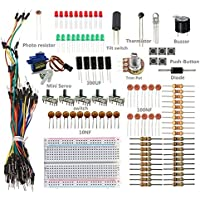 SunFounder Sidekick Basic Starter Kit w/ Breadboard, Jumper wires, Color Led, Resistors, Buzzer For Arduino UNO R3 Mega2560 Mega328 Nano