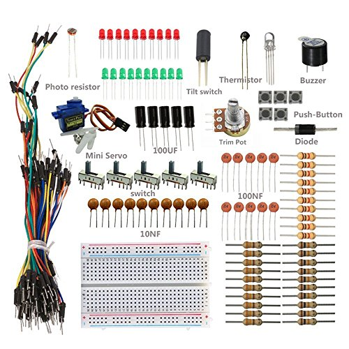 sunfounder-sidekick-basic-starter-kit-w-breadboard-jumper-wires-color-led-resistors-buzzer-for-ardui