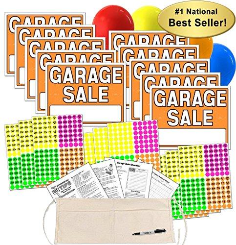 Garage Sale Sign Kit mit Preisen Etiketten und wechseln Schürze neon-orange