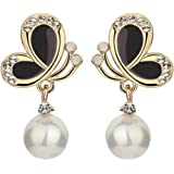 Yellow Chimes Butterfly Collection Pearl Gold Plated Drop Earrings for Women and Girls