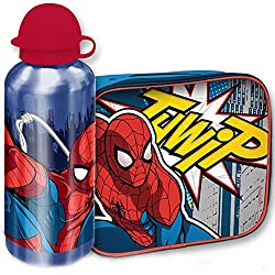 Bakaji Kit Spiderman Borsa Termica con Borraccia Alluminio Cestino Termico Uomo Ragno Merenda per Bambini, Portamerenda Colazione Lunch Box
