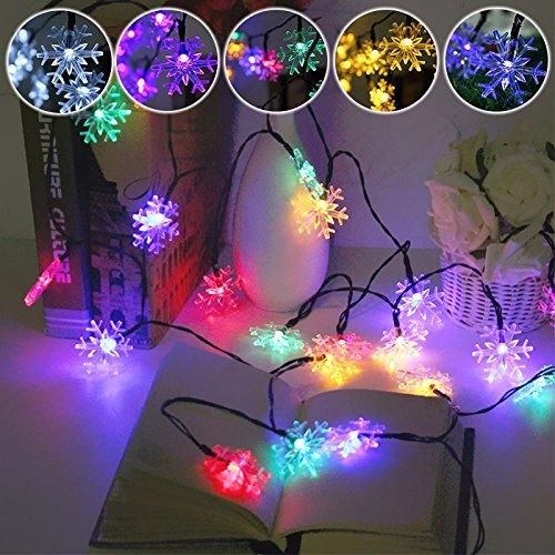MASUNN 5m 20 LED Flocon de Neige Bling Solar Fairy String lumières Noël extérieur Partie Multicolore Lampe-Multicolore