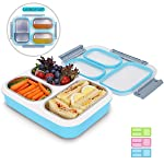 Prosmart - Stainless Steel and Polypropylene Plastic - 3 Removable Compartment - Leakproof Lid Lunch Box - Anti-Scald...