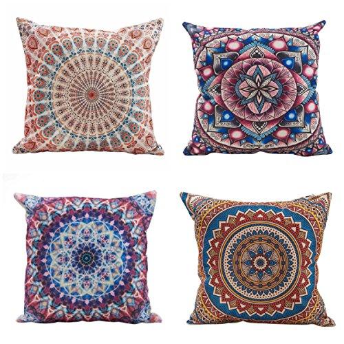 Office-sofa (ammybeddings Set Aus 4 Dekorativen Kissenbezug Geometrisches Muster 45 X 45 cm Sofa Office Decor Kissenbezug Aus BöHmischer Baumwolle Und Leinen)