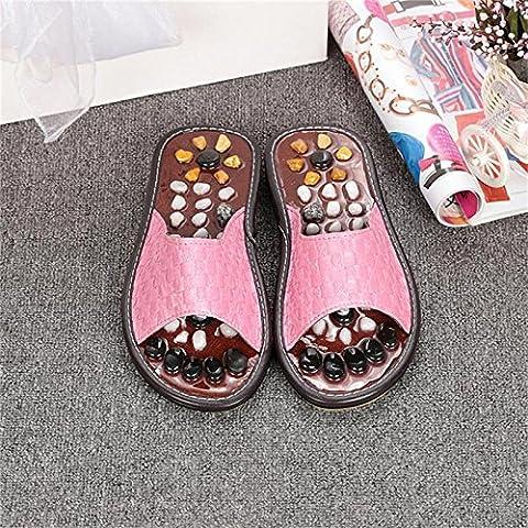 ZHLONG Lady pantofole naturale ghiaia massaggio piede punto salute casa pantofole di massaggio , pink , small - Grande Punto Di Sonno Cozy